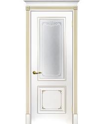 Дверь Смальта 14 Белый ral 9003 патина золото  Эмаль Сатинат, шелкотрафаретная печать со стеклом (Товар № ZF213534)