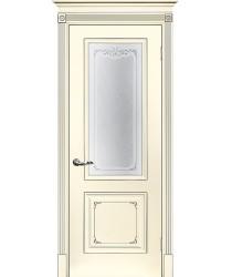 Дверь Смальта 14 Слоновая кость ral 1013 патина серебро  Эмаль Сатинат, шелкотрафаретная печать со стеклом (Товар № ZF213535)