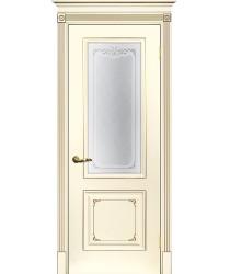 Дверь Смальта 14 Слоновая кость ral 1013 патина шампань  Эмаль Шелкотрафаретная печать со стеклом (Товар № ZF213536)