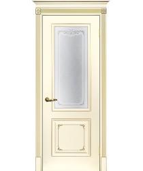 Дверь Смальта 14 Слоновая кость ral 1013 патина золото  Эмаль Сатинат, шелкотрафаретная печать со стеклом (Товар № ZF213537)