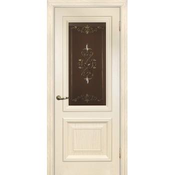 Дверь Фрейм 08 Дуб сливочный  Шпон Витраж со стеклом (Товар № ZF213545)