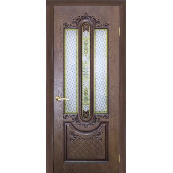 Дверь Мулино 05 Дуб коньячный  Шпон со стеклом (Товар № ZF213550)