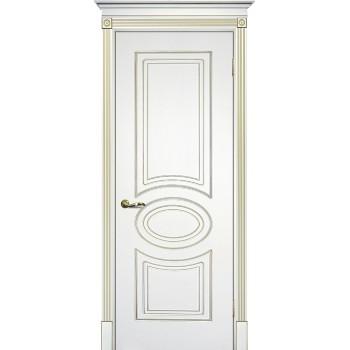 Дверь Смальта 03 Белый ral 9003 патина золото  Эмаль глухое (Товар № ZF13334)