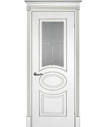 Дверь Смальта 03 Белый ral 9003 патина серебро  Эмаль Сатинат, пескоструйная обработка со стеклом (Товар № ZF13338)