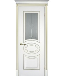 Дверь Смальта 03 Белый ral 9003 патина золото  Эмаль Сатинат, пескоструйная обработка со стеклом (Товар № ZF13337)