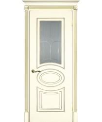 Дверь Смальта 03 Слоновая кость ral 1013 патина золото  Эмаль Сатинат, пескоструйная обработка со стеклом (Товар № ZF13336)