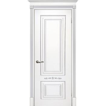 Дверь Смальта 04 Белый ral 9003 патина серебро  Эмаль глухое (Товар № ZF13339)