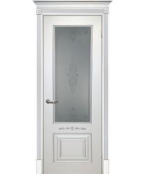 Дверь Смальта 04 Белый ral 9003 патина серебро  Эмаль Сатинат, пескоструйная обработка со стеклом (Товар № ZF13342)