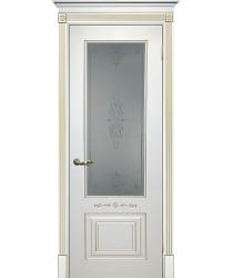 Дверь Смальта 04 Белый ral 9003 патина золото  Эмаль Сатинат, пескоструйная обработка со стеклом (Товар № ZF13344)
