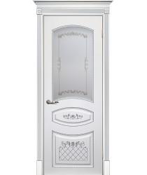 Дверь Смальта 05 Белый ral 9003 патина серебро  Эмаль сатинат, шелкотрафаретная печать серебро со стеклом (Товар № ZF13350)