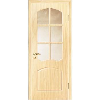 Дверь Лидия Беленый дуб (Береза)  PVC Бронза рифленное со стеклом (Товар № ZF13477)
