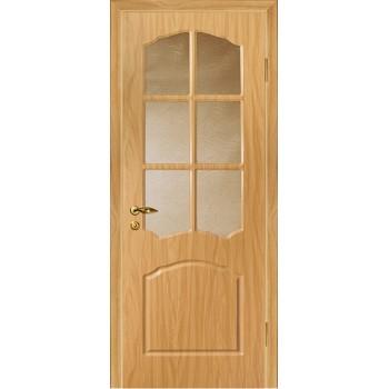 Дверь Лидия Миланский орех  PVC Бронза рифленное со стеклом (Товар № ZF13479)
