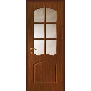 Дверь Лидия Итальянский орех  PVC Бронза рифленное со стеклом (Товар № ZF13480)