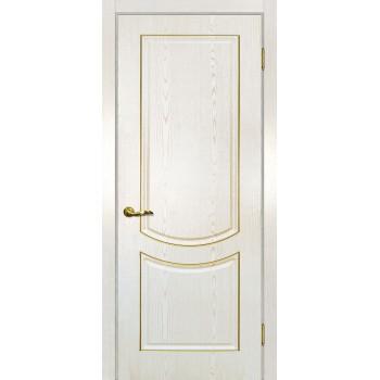 Дверь Сиена-3 патина белый золото контур патина золото  PVC глухое (Товар № ZF13489)