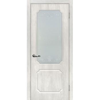 Дверь Сиена-4 Дуб жемчужный  PVC Сатинат, контурный полимер серебро со стеклом (Товар № ZF14346)