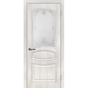 Дверь Сиена-5 Дуб жемчужный  PVC Сатинат, контурный полимер серебро со стеклом (Товар № ZF14354)