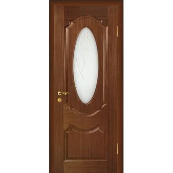 Дверь Ариана Темный орех  Шпон Сатинат, пескоструйная обработка со стеклом (Товар № ZF14450)