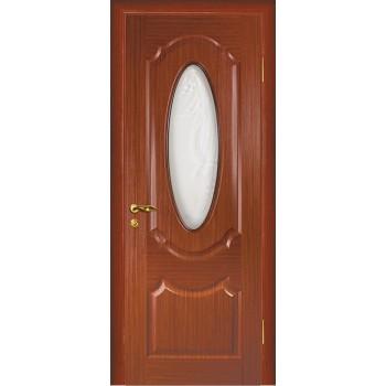 Дверь Ариана Красное дерево  Шпон Сатинат, пескоструйная обработка со стеклом (Товар № ZF14451)