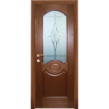 Дверь Милано Темный орех  Шпон Сатинат, пескоструйная обработка со стеклом (Товар № ZF14459)