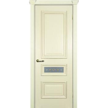 Дверь Фрейм 05 Ясень Слоновая кость  Шпон Белое, пленочный витраж рис. Калипсо (Центральное стекло) со стеклом (Товар № ZF14485)