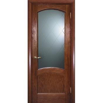 Дверь Вайт 01 Дуб  Шпон Белое, гравированное, рис. Готика со стеклом (Товар № ZF14501)