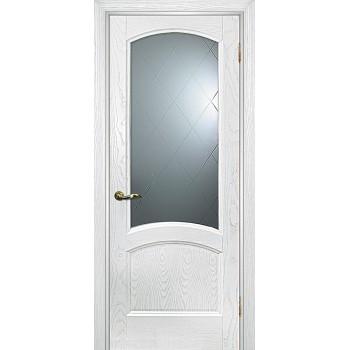 Дверь Вайт 01 Ясень айсберг  Шпон Белое, гравированное, рис. Готика со стеклом (Товар № ZF14500)