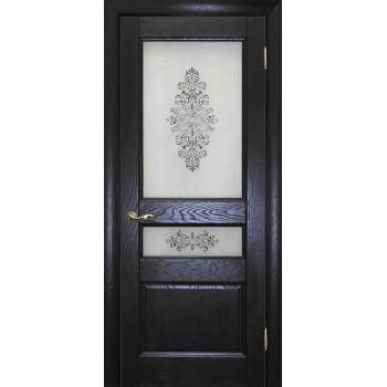 Дверь Вайт 02 Дуб патинированный  Шпон Сатинат, шелкография серая (два стекла) со стеклом (Товар № ZF14505)