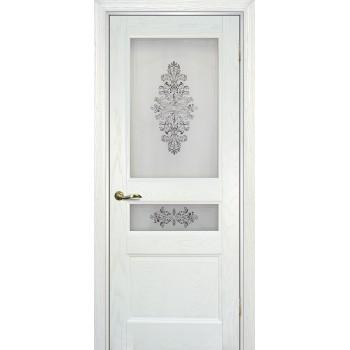 Дверь Вайт 02 Ясень айсберг  Шпон Сатинат, шелкография серая (два стекла) со стеклом (Товар № ZF14504)