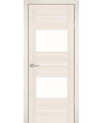 Дверь PS-21 Перламутровый дуб  Экошпон белый лакобель со стеклом (Товар № ZF14555)