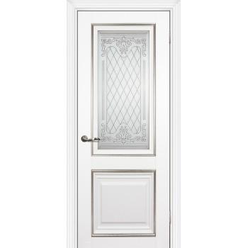 Дверь PSCL-27 Белый  Экошпон Белое, заливной витраж серебро рис. Готика, двухсторонний со стеклом (Товар № ZF14556)