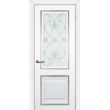 Дверь PSCL-27 Белый  Экошпон Белое, заливной витраж серебро рис. Калипсо, двухсторонний со стеклом (Товар № ZF14557)