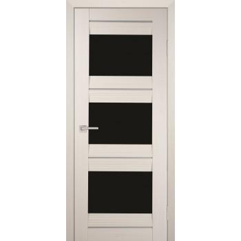 Дверь PSS-11 Перламутровый дуб  Экошпон черный лакобель со стеклом (Товар № ZF13239)