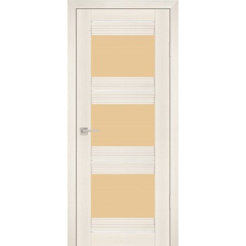 Дверь PSS-11 Перламутровый дуб  Экошпон кремовый лакобель со стеклом (Товар № ZF13240)