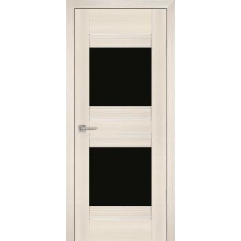 Дверь PSS-21 Перламутровый дуб  Экошпон черный лакобель со стеклом (Товар № ZF13243)