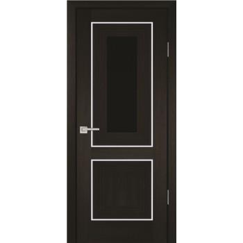 Дверь PSS-27 Мокко  Экошпон черный лакобель со стеклом (Товар № ZF13247)