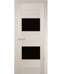 Дверь PS-21 Перламутровый дуб  Экошпон черный лакобель со стеклом (Товар № ZF12911)
