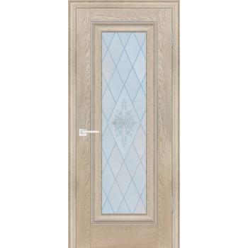 Дверь PSB-25 Дуб Гарвард бежевый  Экошпон Сатинат, пескоструйная обработка со стеклом (Товар № ZF12971)