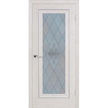Дверь PSB-25 Дуб Гарвард кремовый  Экошпон Сатинат, пескоструйная обработка со стеклом (Товар № ZF12972)