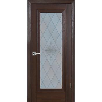 Дверь PSB-25 Дуб Оксфорд темный  Экошпон Сатинат, пескоструйная обработка со стеклом (Товар № ZF12973)