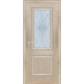 Дверь PSB-27 Дуб Гарвард бежевый  Экошпон Сатинат, пескоструйная обработка со стеклом (Товар № ZF12979)