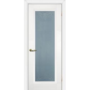 Дверь PSC-25 Белый  Экошпон Сатинат, пескоструйная обработка со стеклом (Товар № ZF12994)