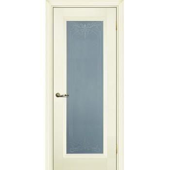 Дверь PSC-25 Магнолия  Экошпон Сатинат, пескоструйная обработка со стеклом (Товар № ZF12996)