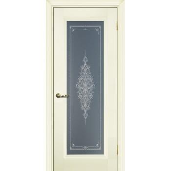 Дверь PSC-25 Магнолия  Экошпон Бесцветное Кристалайз со стеклом (Товар № ZF12997)