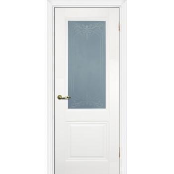 Дверь PSC-27 Белый  Экошпон Сатинат, пескоструйная обработка со стеклом (Товар № ZF13012)