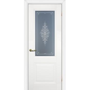 Дверь PSC-27 Белый  Экошпон Бесцветное Кристалайз со стеклом (Товар № ZF13013)