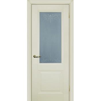 Дверь PSC-27 Магнолия  Экошпон Сатинат, пескоструйная обработка со стеклом (Товар № ZF13014)