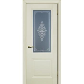 Дверь PSC-27 Магнолия  Экошпон Бесцветное Кристалайз со стеклом (Товар № ZF13015)