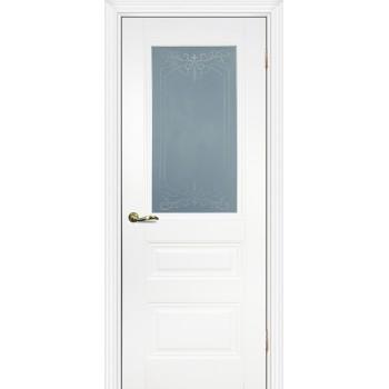 Дверь PSC-29 Белый  Экошпон Сатинат, пескоструйная обработка со стеклом (Товар № ZF13029)