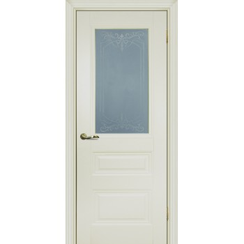 Дверь PSC-29 Магнолия  Экошпон Сатинат, пескоструйная обработка со стеклом (Товар № ZF13031)