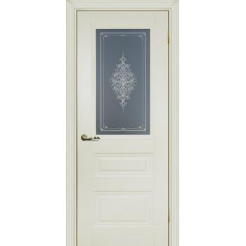 Дверь PSC-29 Магнолия  Экошпон Бесцветное Кристалайз со стеклом (Товар № ZF13032)